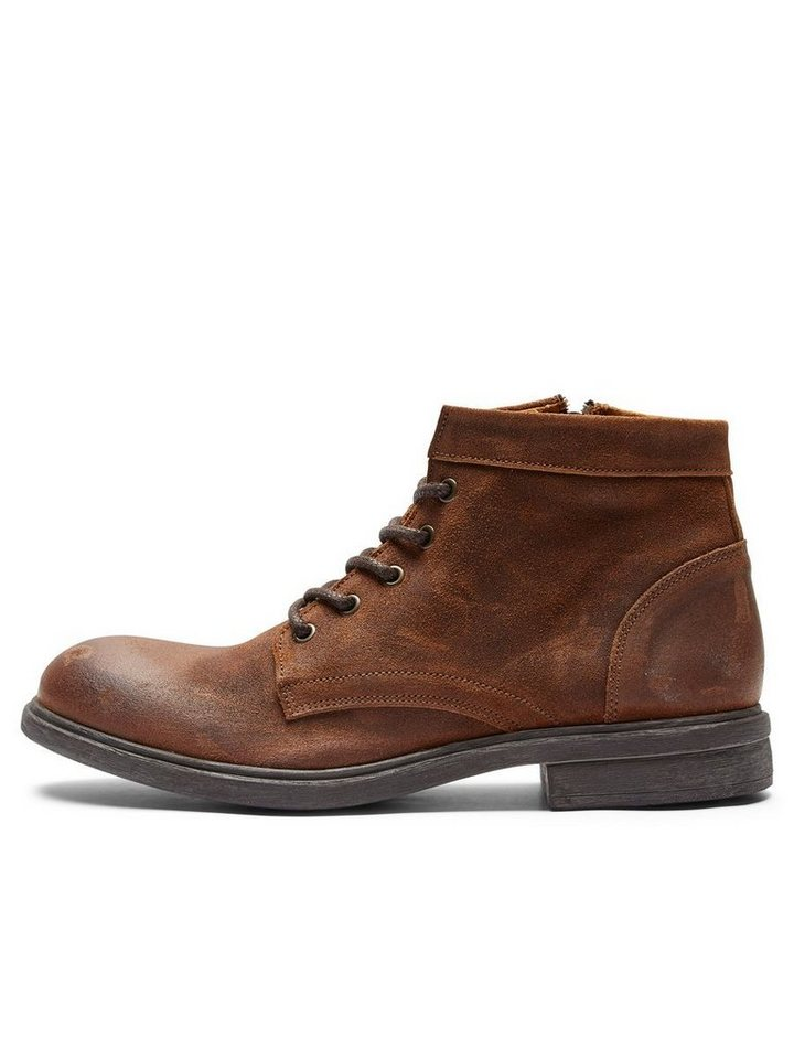 Selected Wildleder- Lederstiefel in Cognac