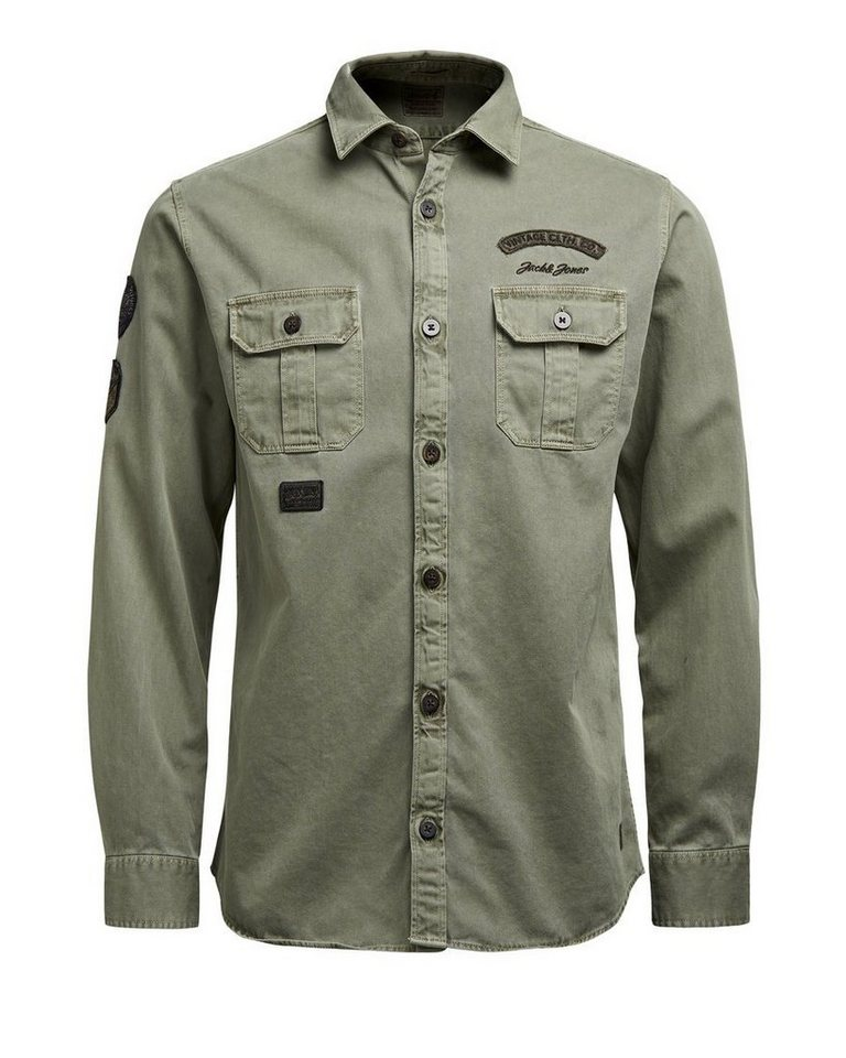 Jack & Jones Patch- Langarmhemd in Black Olive