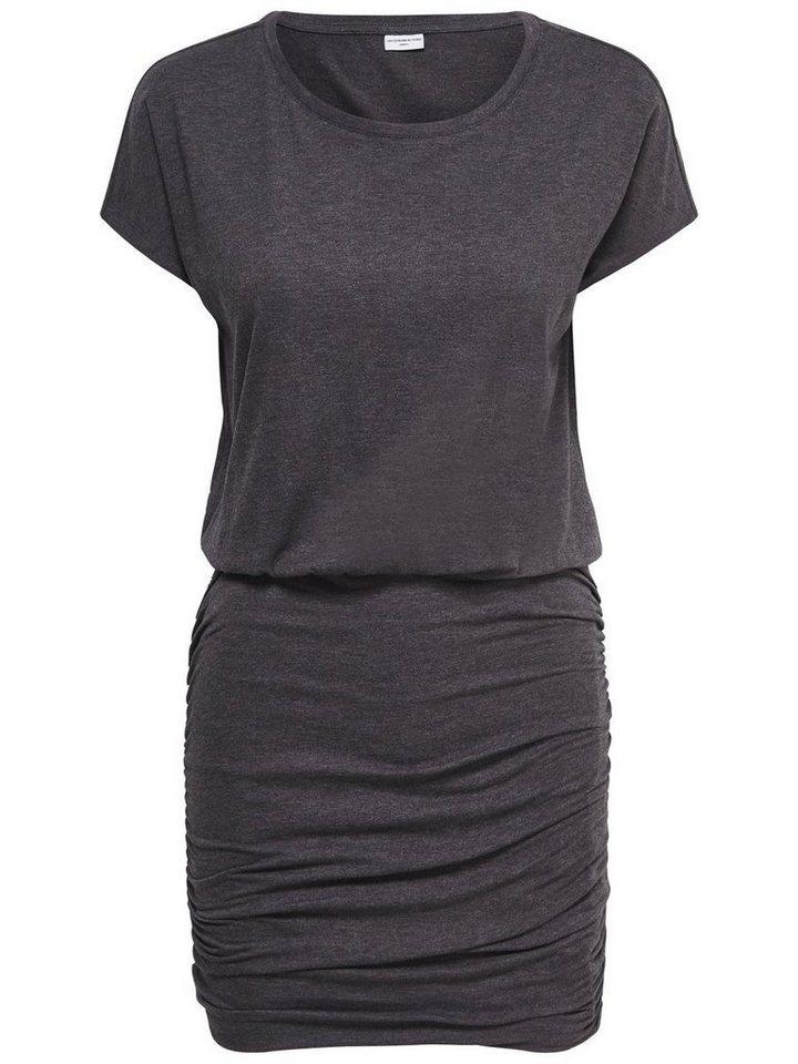 Only Einfarbiges Kleid mit kurzen Ärmeln in Dark Grey Melange