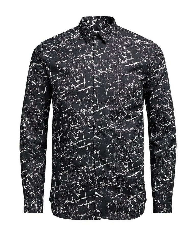 Jack & Jones Bedrucktes Button-under- Langarmhemd in Black