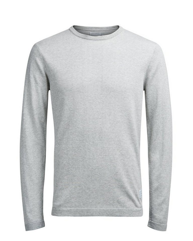 Jack & Jones Gestreifter Strickpullover in Light Grey Melange