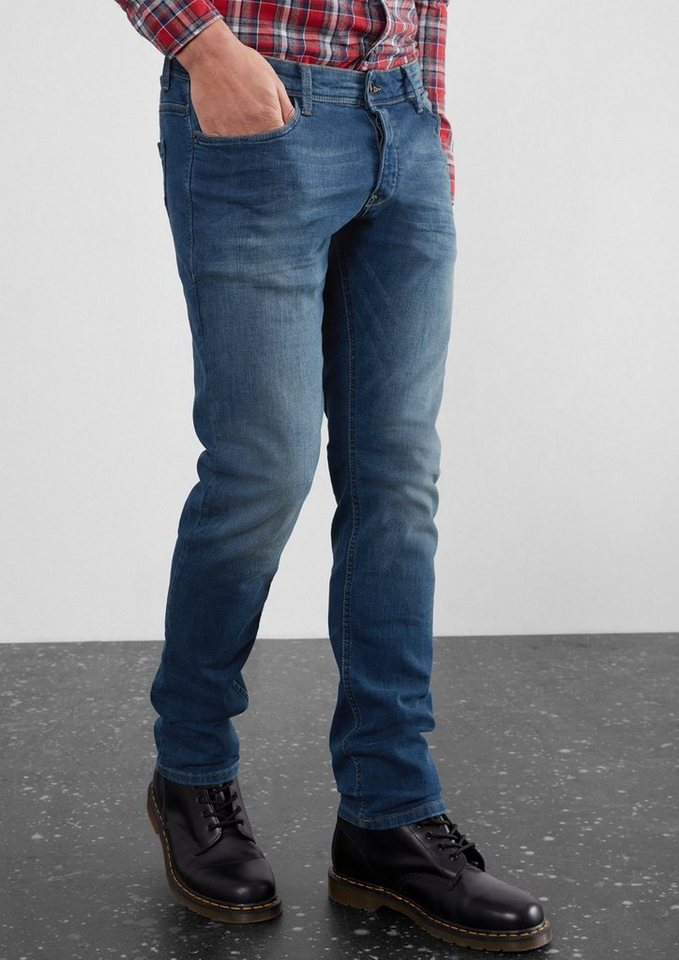 Q/S designed by Rick Slim: Stretch-Jeans in ocean blue