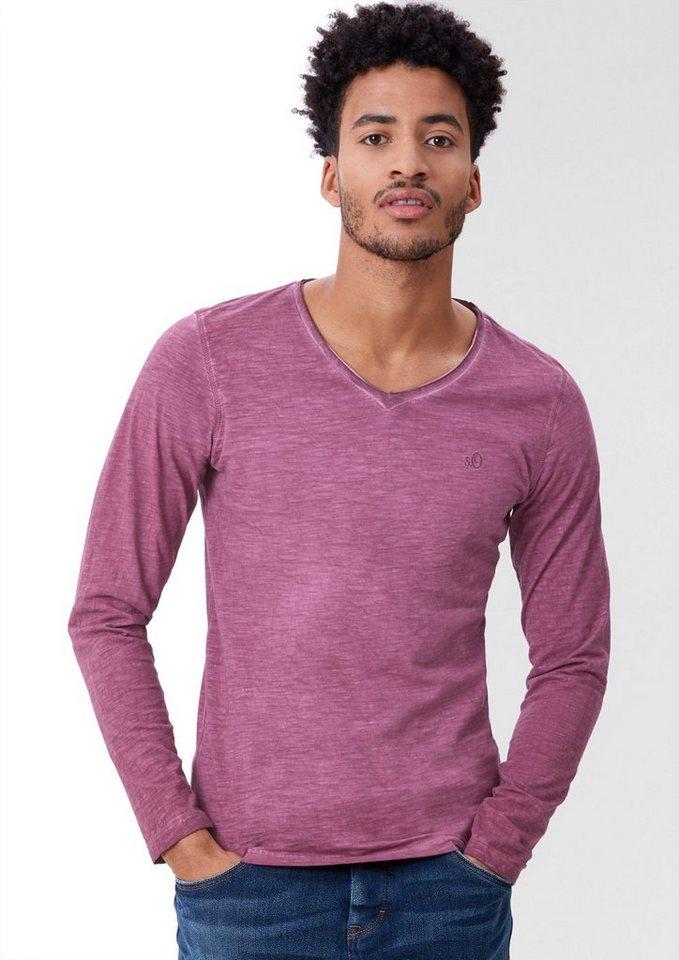 s.Oliver RED LABEL Longsleeve in Garment Dye in dandy