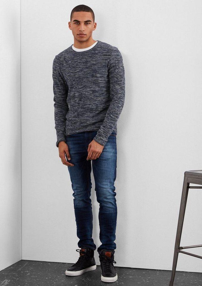 Q/S designed by Schmaler Melange-Pullover in black woven