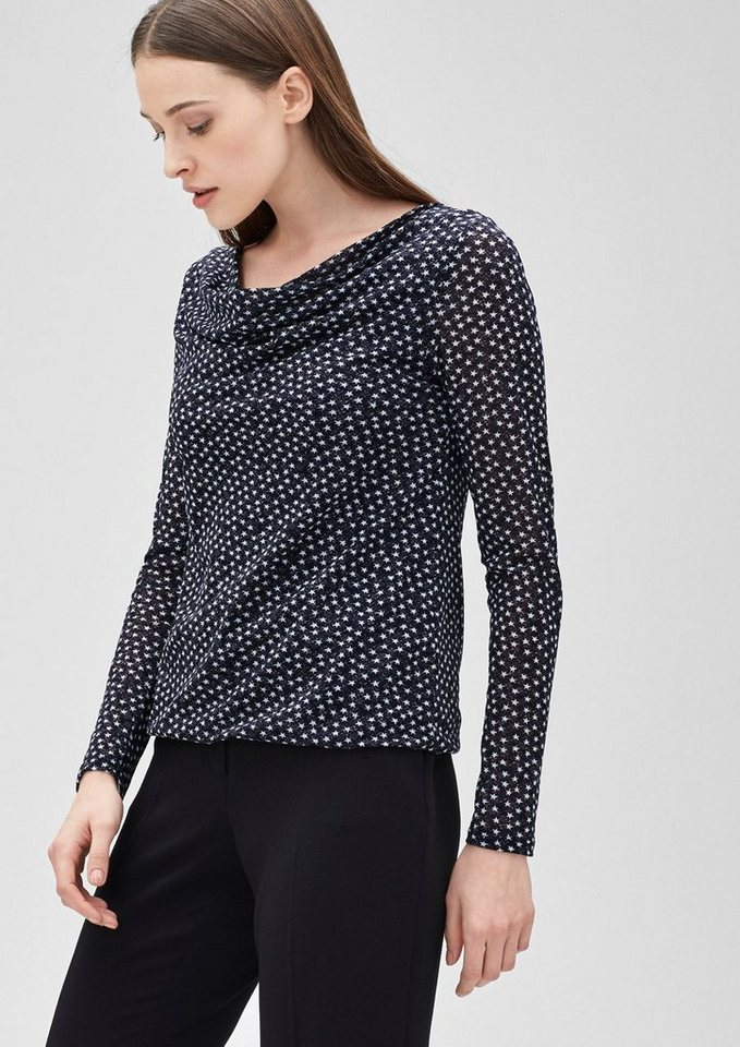 s.Oliver BLACK LABEL Wasserfall-Shirt aus Mesh in india ink