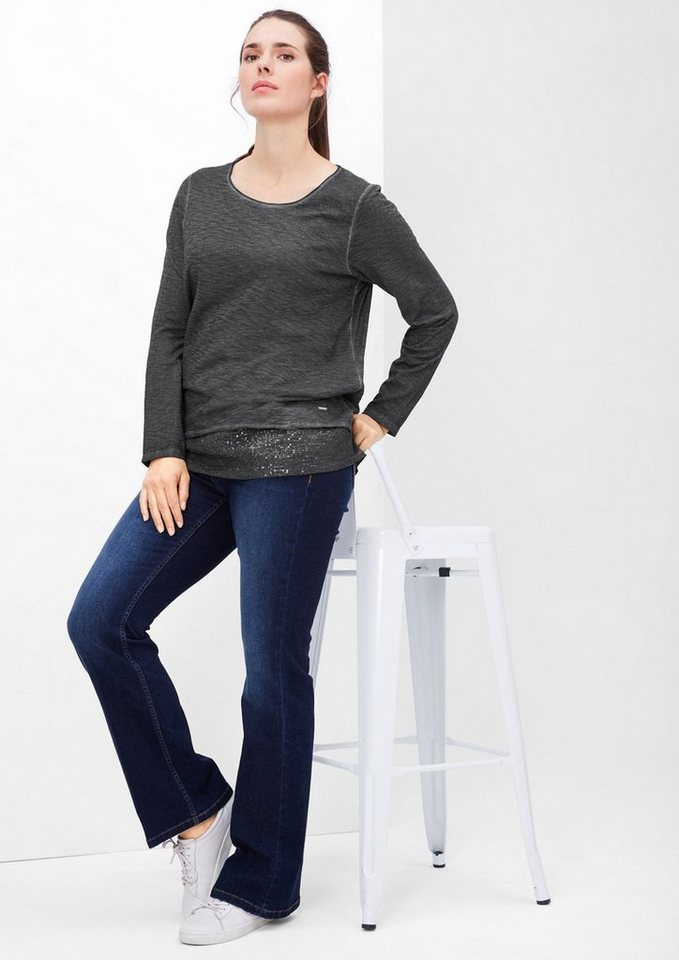 TRIANGLE Longsleeve mit Glamour-Layering in black