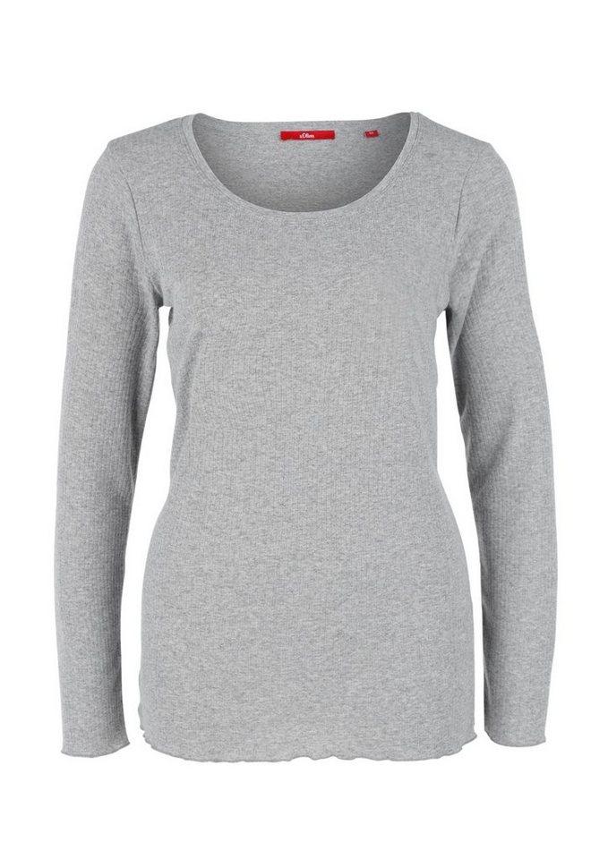 s.Oliver RED LABEL Geripptes Langarmshirt in grey melange