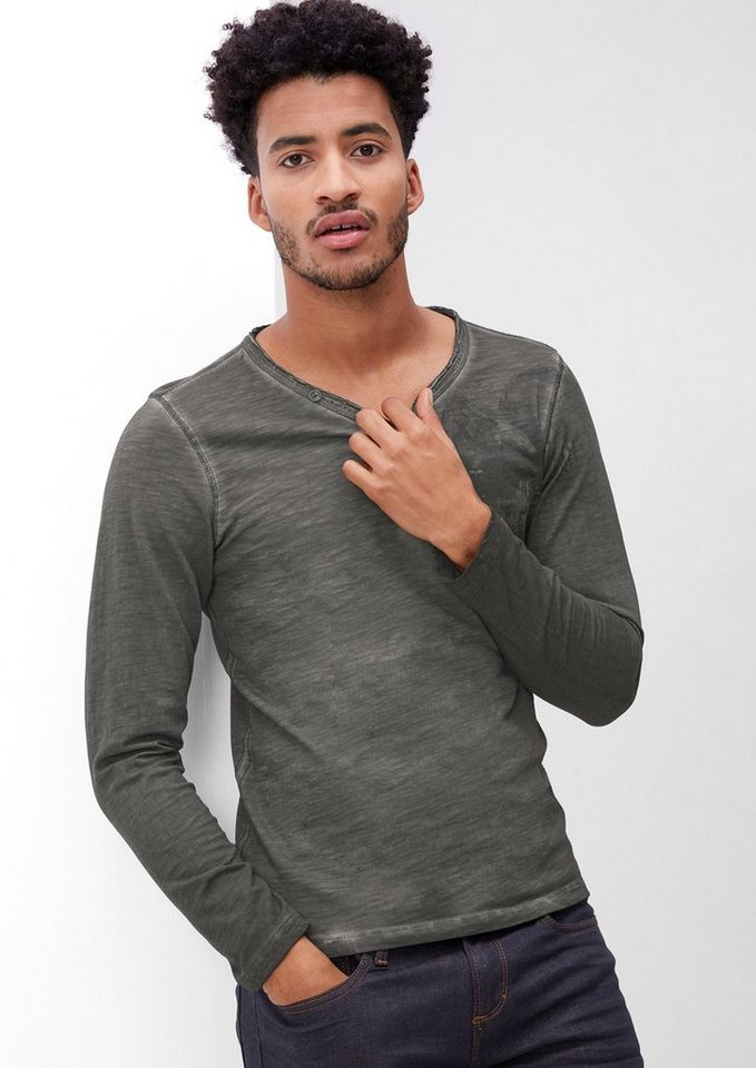 s.Oliver RED LABEL Printshirt in Garment Dye in tech grey