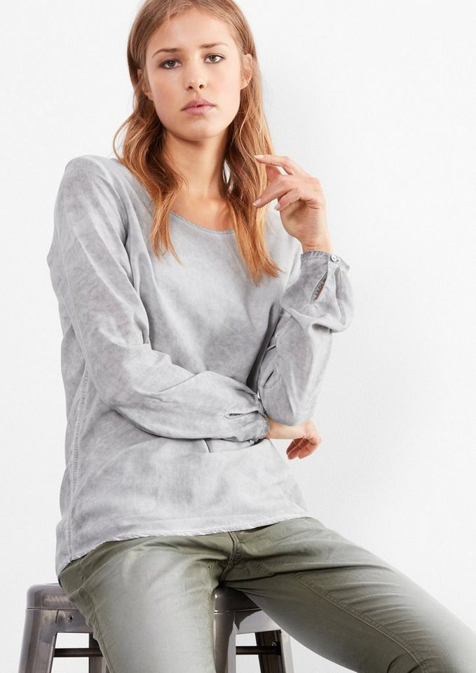 Q/S designed by Garment Dye-Bluse in slate