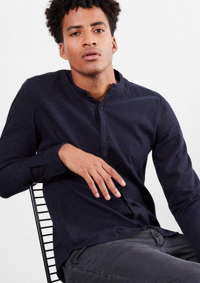 Q/S designed by Extra Slim: Hemd mit Stehkragen in blue nights melange