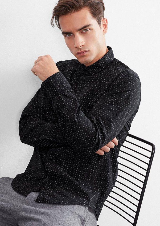 Q/S designed by Extra Slim: Gemustertes Hemd in black