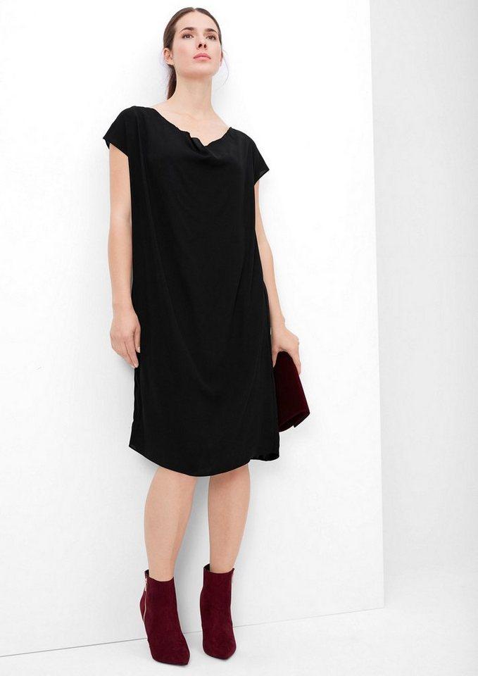 TRIANGLE Elegantes Kleid aus zartem Crêpe in black