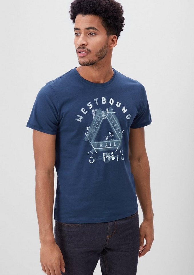 s.Oliver RED LABEL T-Shirt mit Frontprint in medieval blue