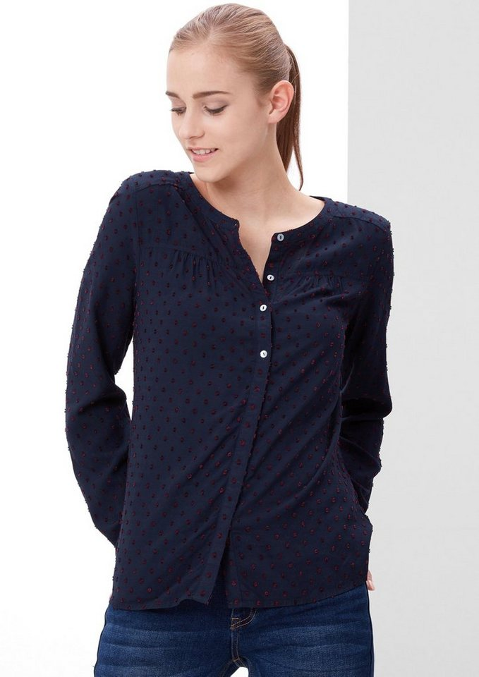 s.Oliver RED LABEL Bluse mit Webmuster in navy dobby