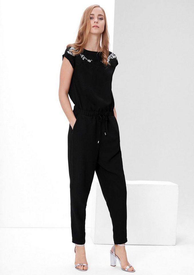 s.Oliver RED LABEL Crêpe-Overall mit Pailletten in black