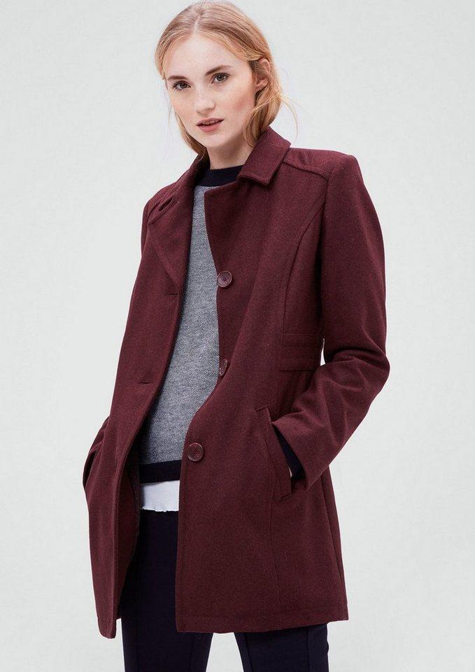 s.Oliver RED LABEL Taillierter Wollmantel in burgundy melange