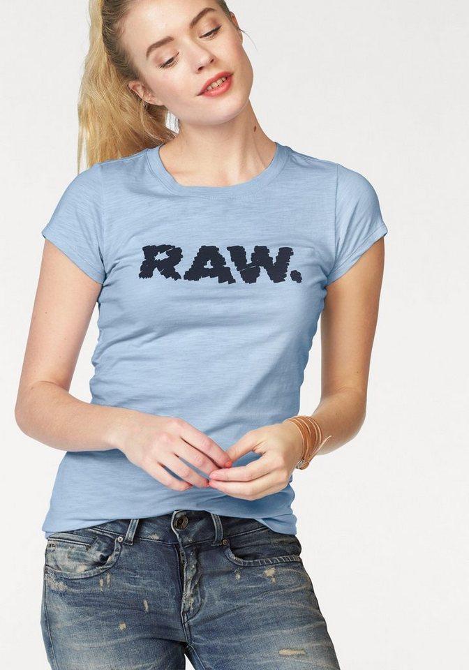 G-Star T-Shirt »Saal« mit Logo Frontdruck in hellblau