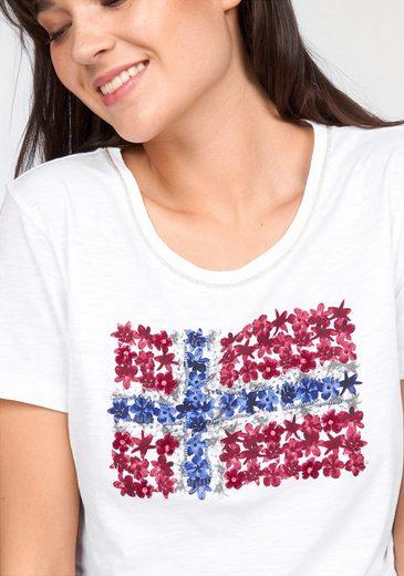 Napapijri T-Shirt Solola, mit hochwertigem Flaggen-Motiv