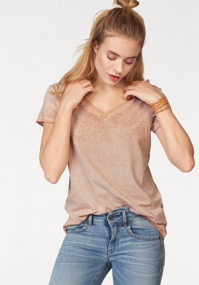 G-Star V-Shirt »FOTIS« im overdyed Look in pfirsich