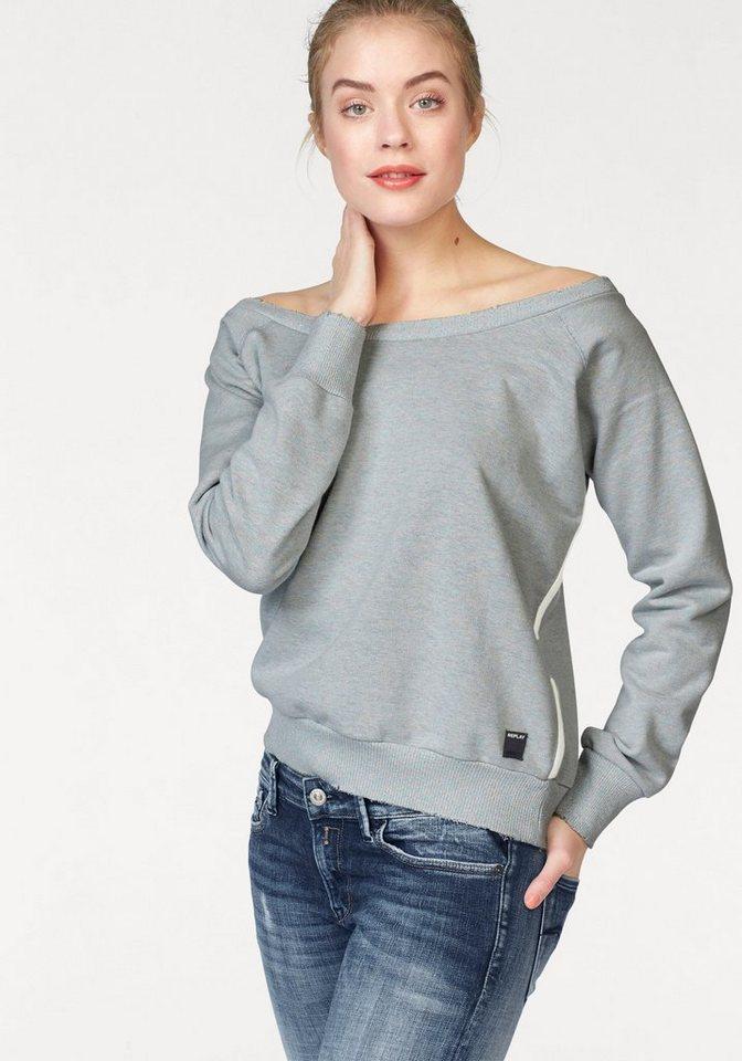 Replay Sweatshirt mit leichtem Glitzereffekt in pastell-grün