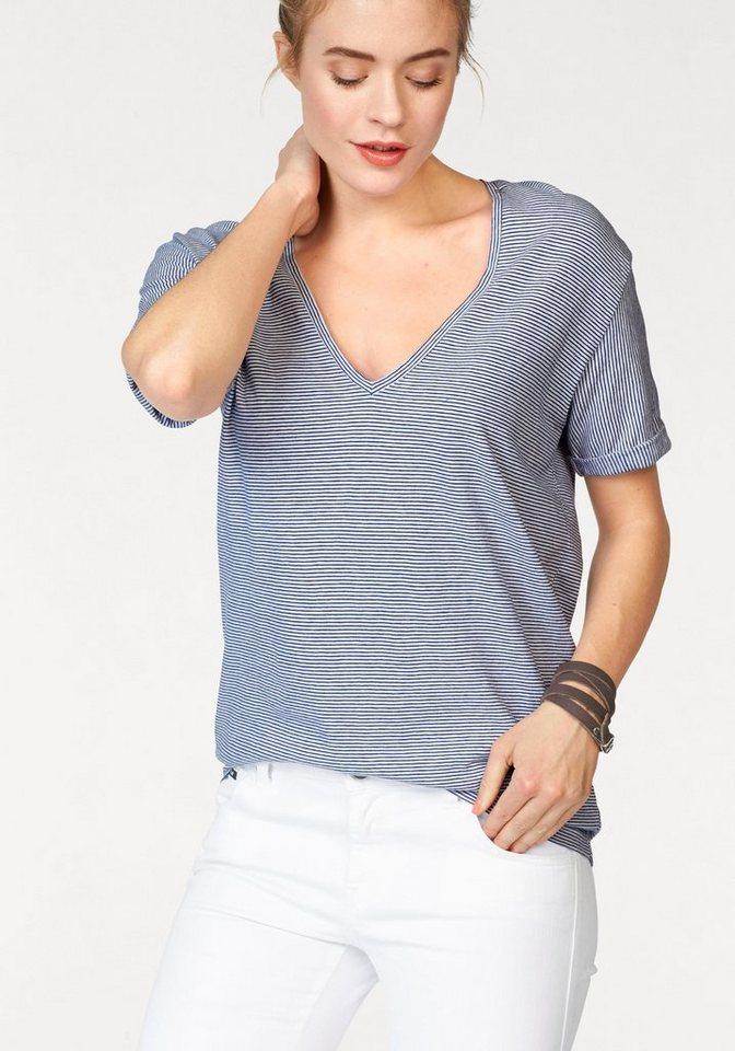 Replay V-Shirt mit Streifen in blau-weiß