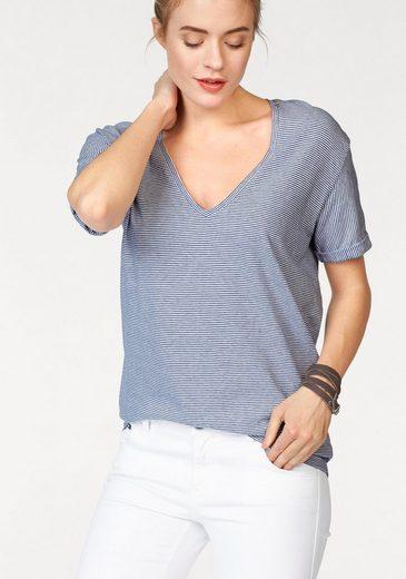 Replay V-Shirt, mit Streifen