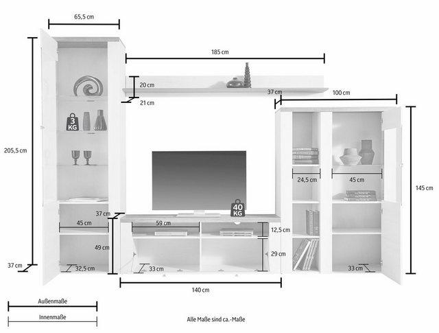 Wohnwände - TRENDMANUFAKTUR Wohnwand »Larona«, (Set, 4 St)  - Onlineshop OTTO