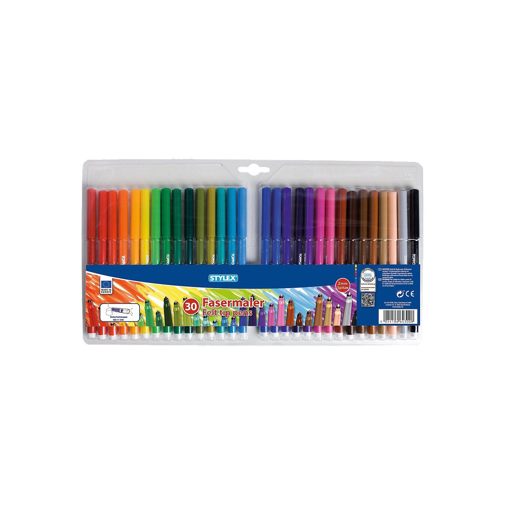 Stylex Filzstifte, 30 Farben