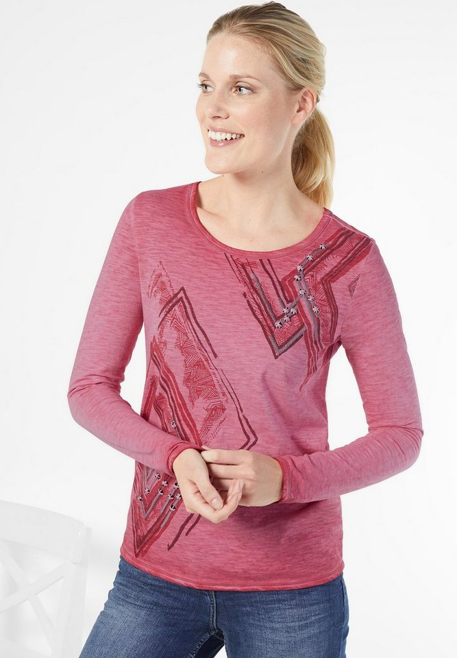 CECIL Printshirt mit Stitchings in raptured pink