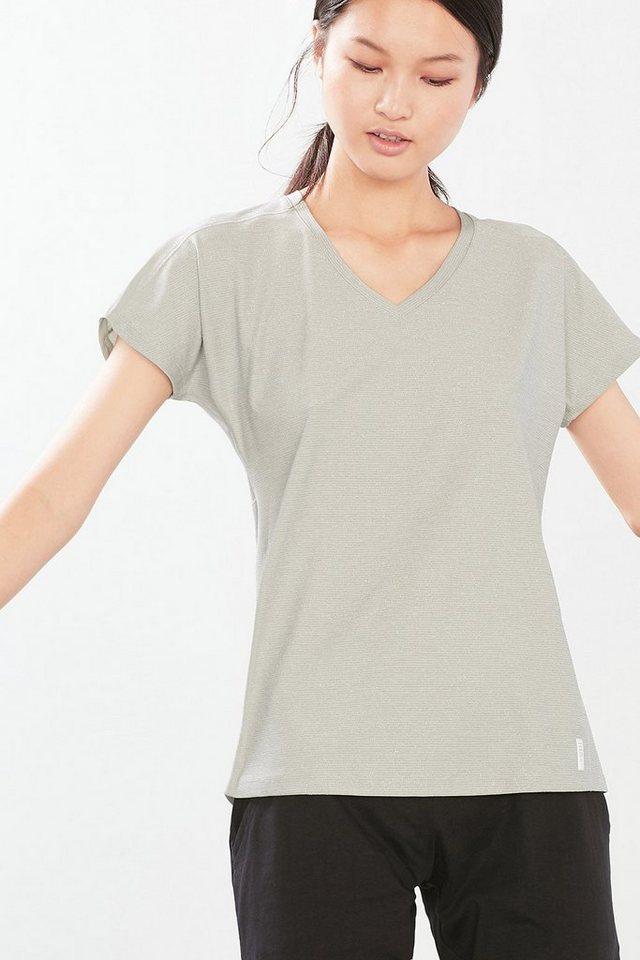 ESPRIT Sport Funktions T-Shirt mit Glanzstreifen in SILVER