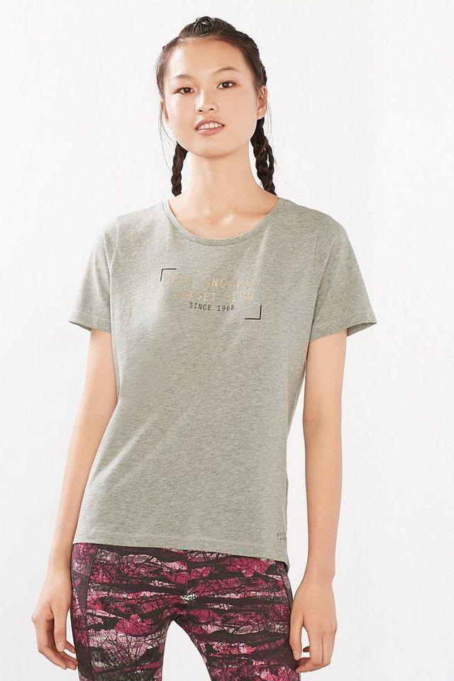 ESPRIT Sport T-Shirt mit Glanz-Print, Baumwoll-Mix in MEDIUM GREY