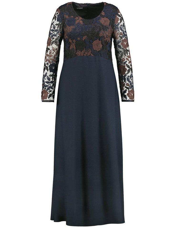 Samoon Kleid Langarm kurz »Langes Kleid mit Spitze« in Blau Nights