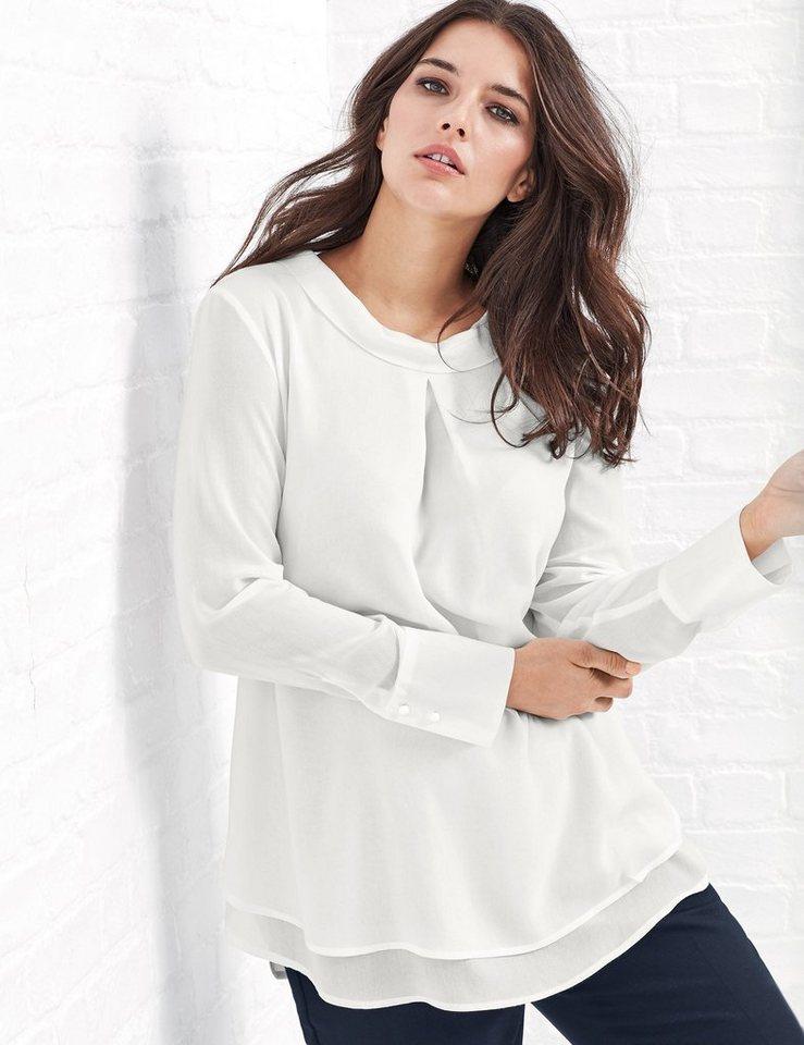Samoon Longbluse Langarm »Ausgestellte Bluse mit Stehkragen« in Off-White