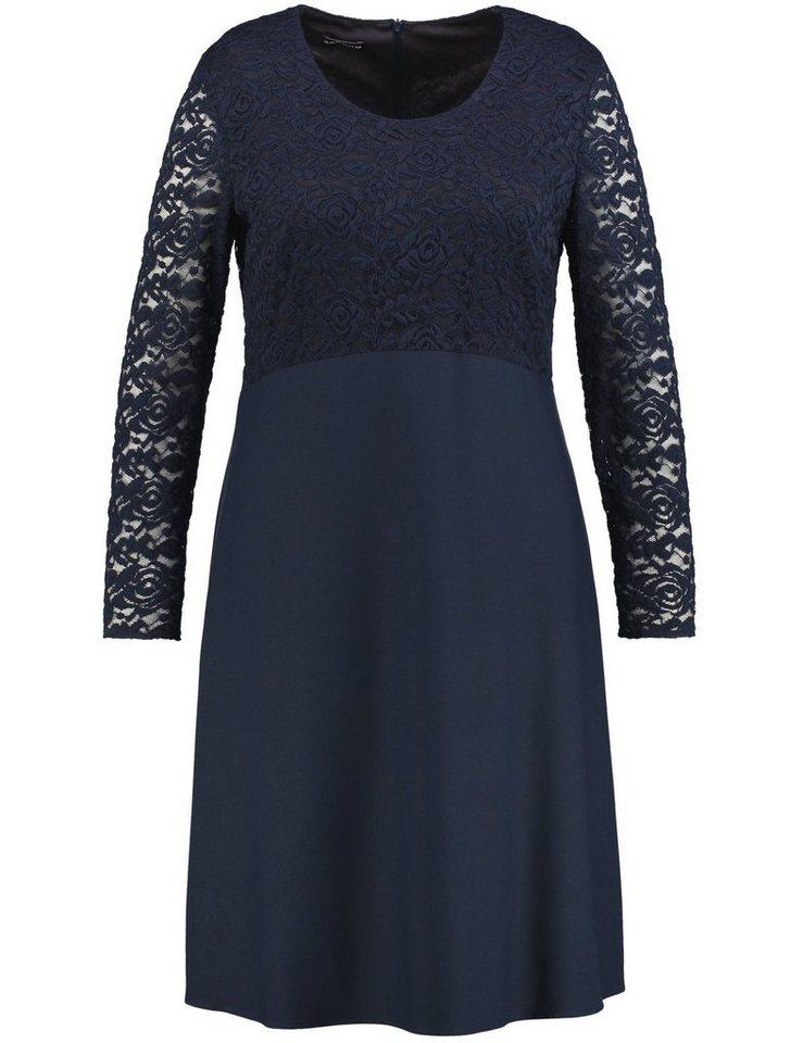 Samoon Kleid Langarm kurz »Kleid mit Spitze« in Blau Nights