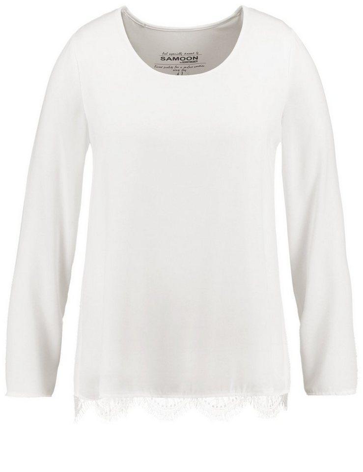 Samoon T-Shirt Langarm Rundhals »Blusen-Shirt mit Spitze« in Off-White