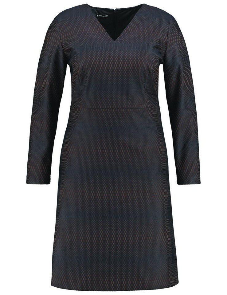Samoon Kleid Langarm kurz »Jacquard-Kleid« in Dunkelblau gemustert