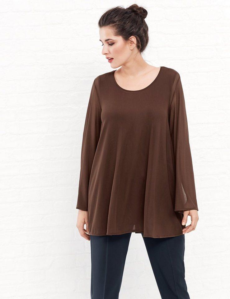 Samoon T-Shirt Langarm Rundhals »Leichte Tunika in A-Linie« in Brown Copper