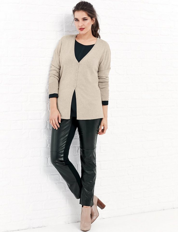 Samoon Jacke Strick »Basic Strickjacke« in Soft Brush-Melange