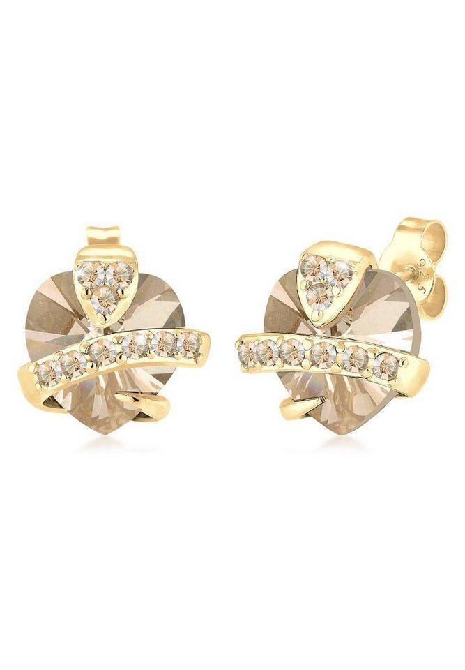 Elli Ohrringe »Sterling Silber vergoldet Herz Swarovski Kristalle« in Braun