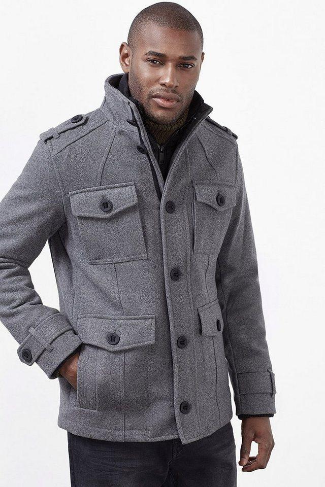 ESPRIT CASUAL Wattierte Woll-Mix Field Jacket mit Layering in LIGHT GREY