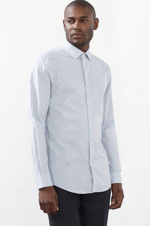 ESPRIT COLLECTION Hemd mit feiner Struktur, 100% Baumwolle in LIGHT BLUE