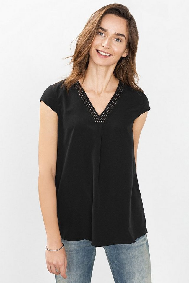 ESPRIT CASUAL Fließendes Blusen-Top in A-Linie in BLACK