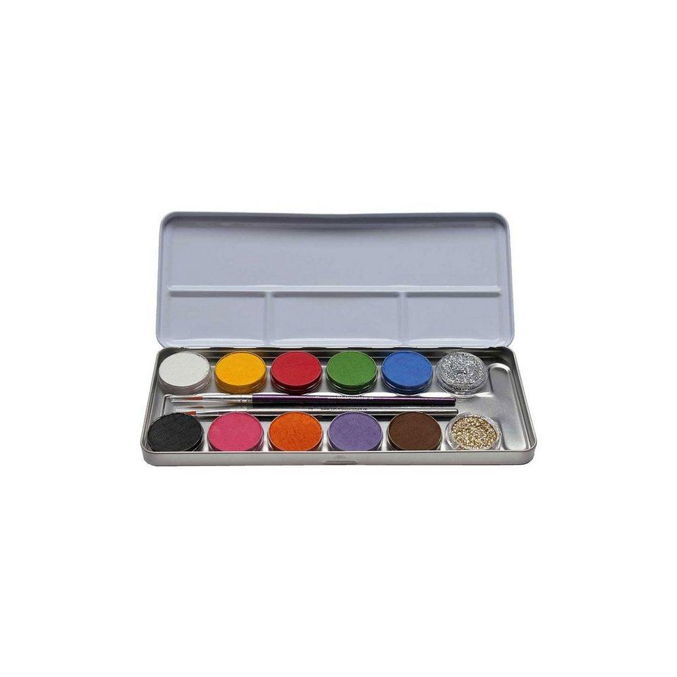 Schminkpalette Metall, 10 Farben