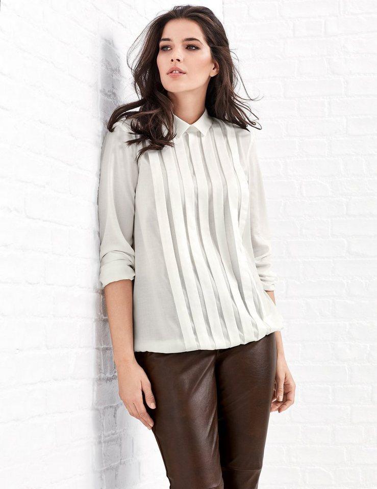Samoon Bluse Langarm »Bluse mit Faltendetails« in Off-White