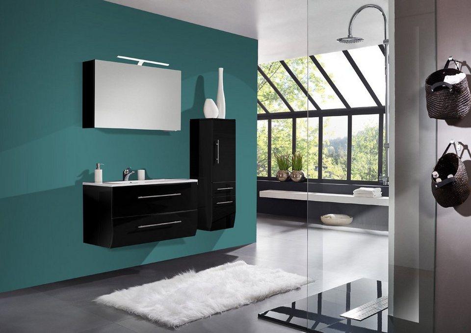 SalesFever Badmöbel-Set, Breite 90 cm (3-tlg.) Deluxe »Nizana« in schwarz