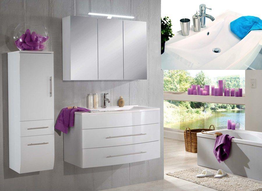 SalesFever Badmöbel-Set, Breite 100 cm (3-tlg.) »Zalona« in weiß