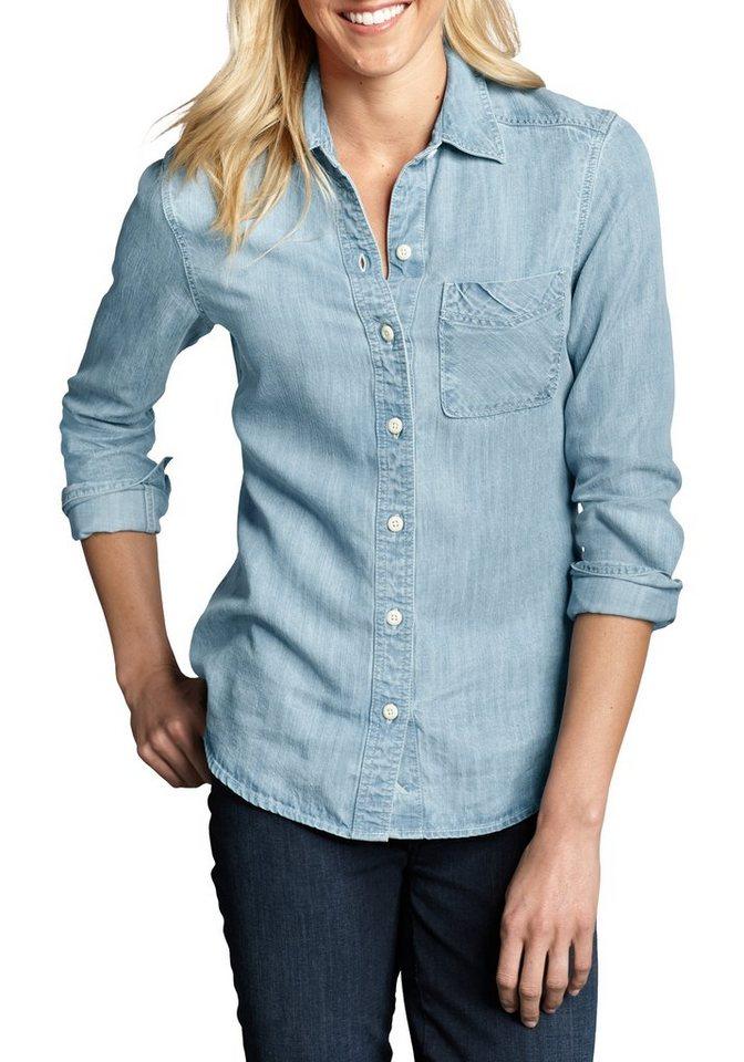 Eddie Bauer Bluse in Jeans-Optik in Light Blue Wash