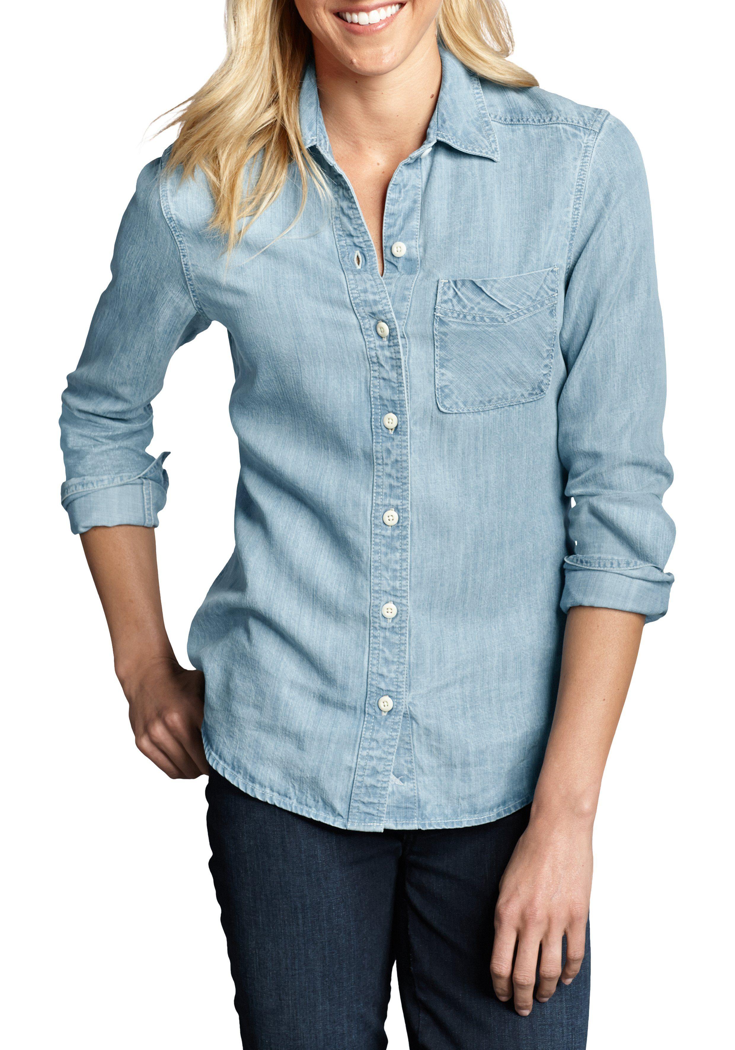 Eddie Bauer Tencel® Bluse in Jeans-Optik