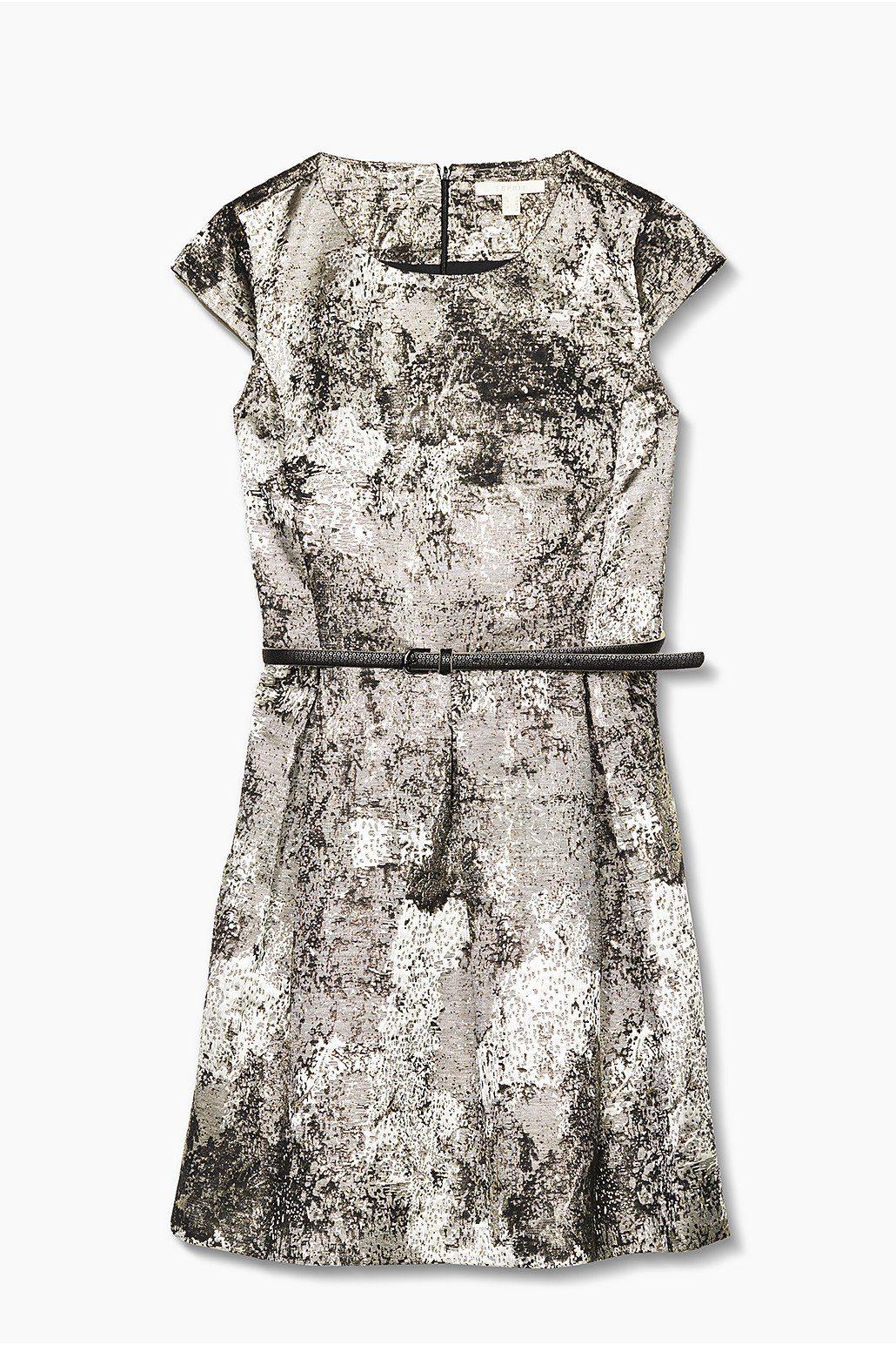 ESPRIT CASUAL Jacquard Kleid mit Glanz-Effekt