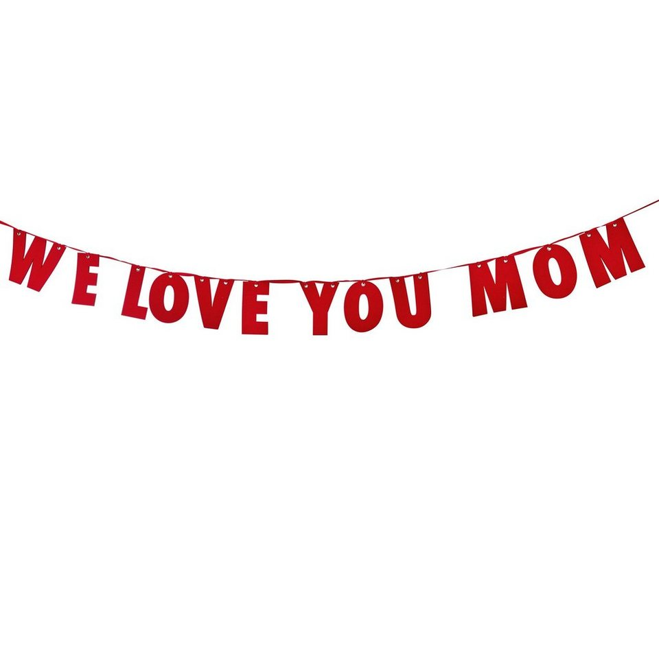 """BUTLERS MOM IS WOW »Girlande Filz """"We love you Mom""""« in rot"""